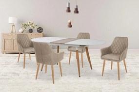 Jedálenský stôl rozkladací CALIBER biely / dub san remo Halmar