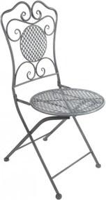 DEMA Kovová sklápacia stolička Provence, sivá