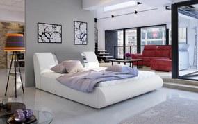 NABBI Folino 140 čalúnená manželská posteľ s roštom biela / sivá
