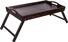 ČistéDrevo Drevený servírovací stolík do postele 50x30 cm tmavý