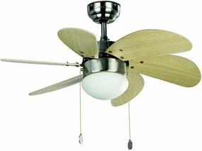 Stropný ventilátor s osvetlením Faro PALAO 33183 javor/nikel + záruka 3 roky ZADARMO