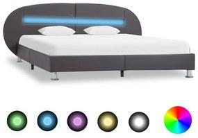 vidaXL Posteľný rám s LED, sivý, umelá koža 120x200 cm