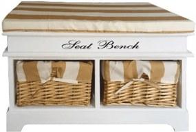 Lavica s vankúšom, 2 košíky, biela/medová/vzor, SEAT BENCH 4