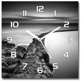 Sklenené hodiny štvorec Kamenná pláž pl_zsk_30x30_f_86464123