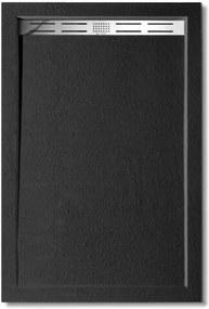 BLACK STAR sprchová vanička z liateho mramoru, obdĺžnik, 100 × 80 × 3 cm