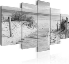 Obraz - Morning on the beach - black and white 200x100