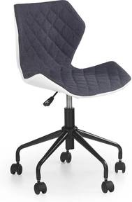 HALMAR Matrix detská stolička na kolieskach sivá / biela