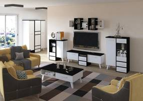 MEBLOCROSS Nordis obývacia izba čierna / biela