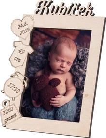 Drevobox Drevený fotorámik s menom k narodeniu dieťaťa