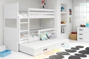 BMS Group Poschodová posteľ s prístelkou RICO - s úložným priestorom - pre troch - BIELA