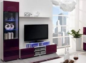 Moderní obývací systém Ordia M  Dekor Ordia: Dekor Bílá/fialový lesk