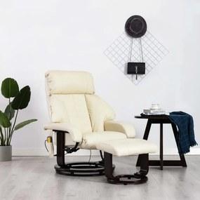 vidaXL Sklápacie masážne TV kreslo, krémovo biele, umelá koža