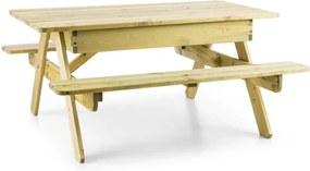 Blumfeldt Zaubersand, detský piknikový stôl, hrací stôl, pieskovisko, pravé borovicové drevo