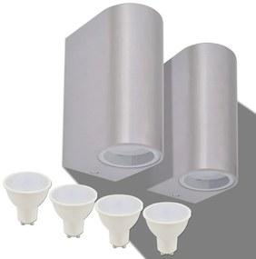 vidaXL Vonkajšie nástenné LED svietidlá, 2 ks, okrúhle, svietenie zhora/zdola