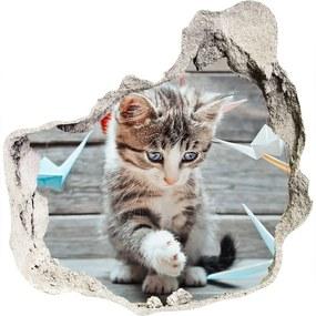 Diera 3D fototapety Mačka vtáky z papiera WallHole-75x75-piask-66724934