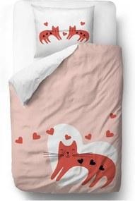 Obliečky z bavlneného saténu Butter Kings Hearty Kittens, 135 x 200 cm