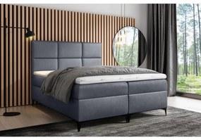 Dizajnová čalúnená posteľ Fiza s úložným priestororm šedá 180 x 200 + topper zdarma