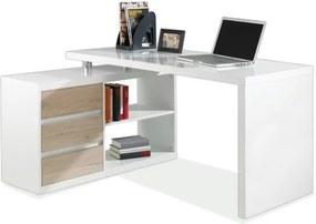 Sconto Rohový písací stôl 6228 biela/dub sanremo