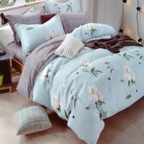 HOD Posteľné obliečky FLOWER LIGHT BLUE 6 set 200x220cm