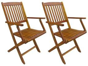 vidaXL Skladacie vonkajšie stoličky 2 ks, akáciový masív