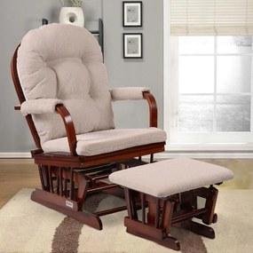 Komfortné relaxačné kreslo s taburetom Catini TREVISO tm.drevo