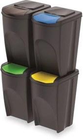 PlasticFuture Sada košů na třídění odpadu SORTIBOX 4x35L antracit