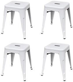 vidaXL Stohovateľné stoličky 4 ks, biele, oceľ