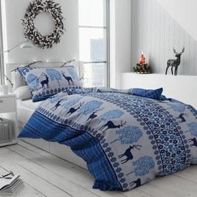 Bavlnené vianočné obliečky Sob modré
