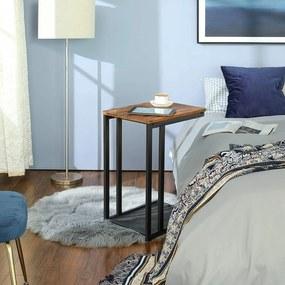 VASAGLE Stolík k posteli industriálny hnedý 48 x 65 x 35 cm