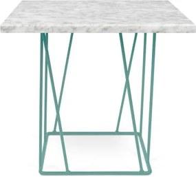 Biely mramorový konferenčný stolík so zelenými nohami TemaHome Helix, 50 cm