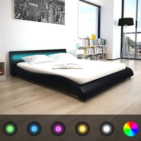 vidaXL Rám postele s LED pásom, 160x200 cm, umelá koža, čierna