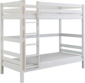 MF Poschodová posteľ z bukového masívu Oliver 2 200x90 Biela Variant úložný box: Bez úložného boxu
