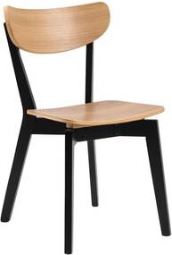 Čierna jedálenská stolička s prvkami v dekore dubového dreva Actona Roxby