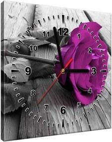 Obraz s hodinami Fialová ruža na móle 30x30cm ZP1803A_1AI