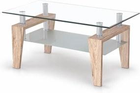 HALMAR Betty sklenený konferenčný stolík dub san remo / priehľadná