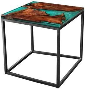 Sconto Odkladací stolík RESIN 50x50 cm, zelená/sivá