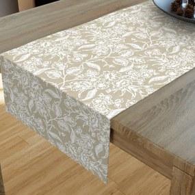 Goldea dekoračný behúň na stôl loneta - vzor popínavé kvety na režnom 20x120 cm