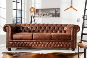 Sofa Chesterfield 3er vintage koža