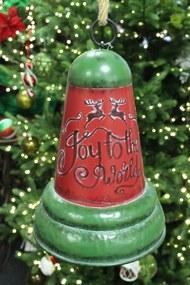 Červeno zelený vianočný zvon 27 cm