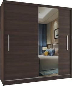 Prostorná skříň s posuvnými dveřmi s úzkým zrcadlem šířka 158 cm v dekoru kaštan S dojezdem