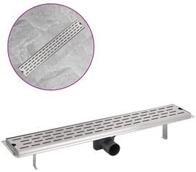 vidaXL Rovný sprchový odtok, čiarky, 730x140 mm, nerezová oceľ