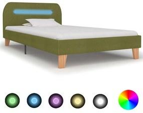 vidaXL Rám postele s LED svetlom zelený látkový 90x200 cm