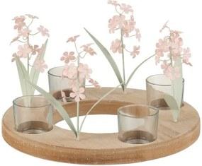 Hnedý drevený svietnik na štyri čajové sviečky s ružovými sklenenými květinami- 26 * 26 * 16 cm