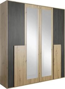 TEMPO KONDELA Bafra 4D štvordverová šatníková skriňa so zrkadlom dub artisan / čierna borovica nórska