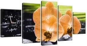 Obraz s hodinami Oranžová orchidea 150x70cm ZP1713A_5B