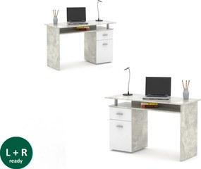 Písací stôl PL 20 betón, biela
