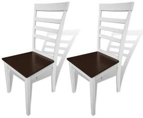 vidaXL Hnedo-biele jedálenské stoličky, masívne drevo, 2 ks