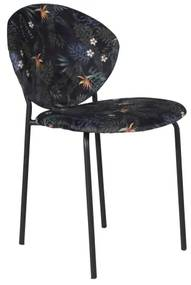 Vault jedálenská stolička kvetinová čierna