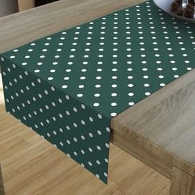 Goldea dekoračný behúň na stôl loneta - vzor biele bodky na tmavo zelenom 20x120 cm