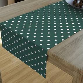 Goldea dekoračný behúň na stôl loneta - vzor biele bodky na tmavo zelenom 35x120 cm